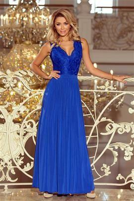 MERY długa suknia MAXI bez rękawków z koronkowym dekoltem - chabrowa