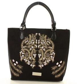 MONNARI Niezwykła torba shopper bag z haftowanym wzorem czarny