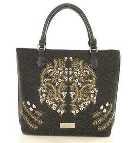MONNARI Niezwykła torba shopper bag z haftowanym wzorem szary