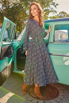 Modna sukienka midi kropki