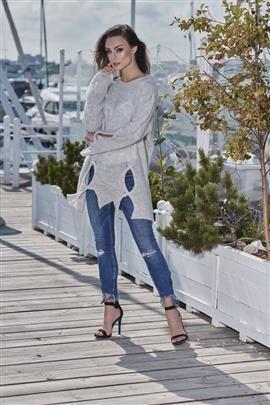 Moherowy sweter z wycięciami jasnoszary ELISE