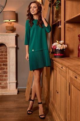 Prosta sukienka mini z plisowaniami ciemna zieleń SUMMER