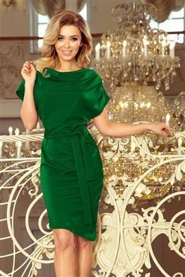 ROXI sukienka z asymetryczną spódnicą i paskiem - ZIELONA