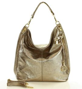 Skóra naturalna torebka worek Isabella złoty brąz