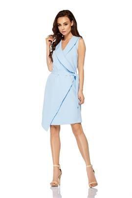 Sukienka kopertowa wiązana w pasie bez rękawów  błękitny