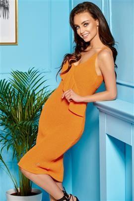 Sukienka sweterkowa na ramiączkach z falbaną pomarańczowy