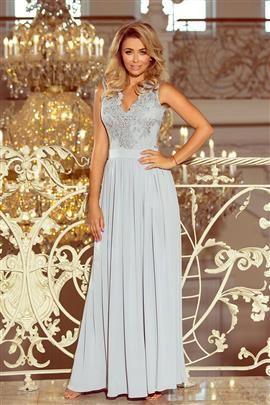 WIKTORIA długa suknia bez rękawków z haftowanym dekoltem - SREBRNA
